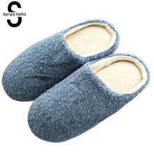 Senza Fretta Men Shoes Winter Slippers Warm Soft Slippers Non-slip Home Furry Shoes Slippers Floor Shoes Purple Soft Home Shoes(China)