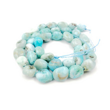 Lii Ji Natural Stone Larimar Irregular Shape approx 7x9-7x10mm DIY Jewelry Making Bracelet or Necklace about 39cm(China)
