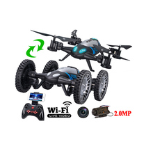 Lishitoys L6055 2.4G 2 in 1 RC Flying Quadcopter Vehicle with WIFI FPV Live Camera 2.0MP Remote Control Drone Car Toy  Kid Gift