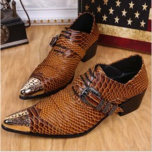 High Quality Brown Snakeskin Pattern Men Dress Shoes Lace Up Party High Heel Shoes Men Oxfords Pointed Toe Buckle Zapatos Hombre