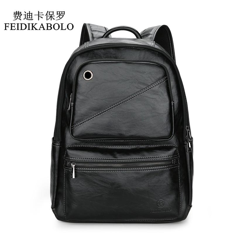 FEIDIKABOLO Brand Men Backpack Mens Leather Laptop Backpack For Teenager Fashion Male Mochila Leisure Travel Backpack School Bag<br>