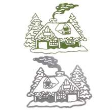 2017 Fashion Metal Steel Santa Claus Cutting Dies Stencil DIY Scrapbooking Album of Santa Claus Chimney house decorate with Pine