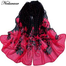 Beauty flowers scarf women georgette chiffon oblong scarves winter dot pattern shawl thin long shawls cape cachecol wholesale
