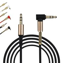 High Quality 3.5mm Jack Audio Cable Male To Male 90 Degree Right Angle Flat Aux Cable 1M New Practical(China)