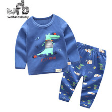 Retail 1-10 years set cotton long-sleeved T-shirt home service + pants printed children spring fall autumn