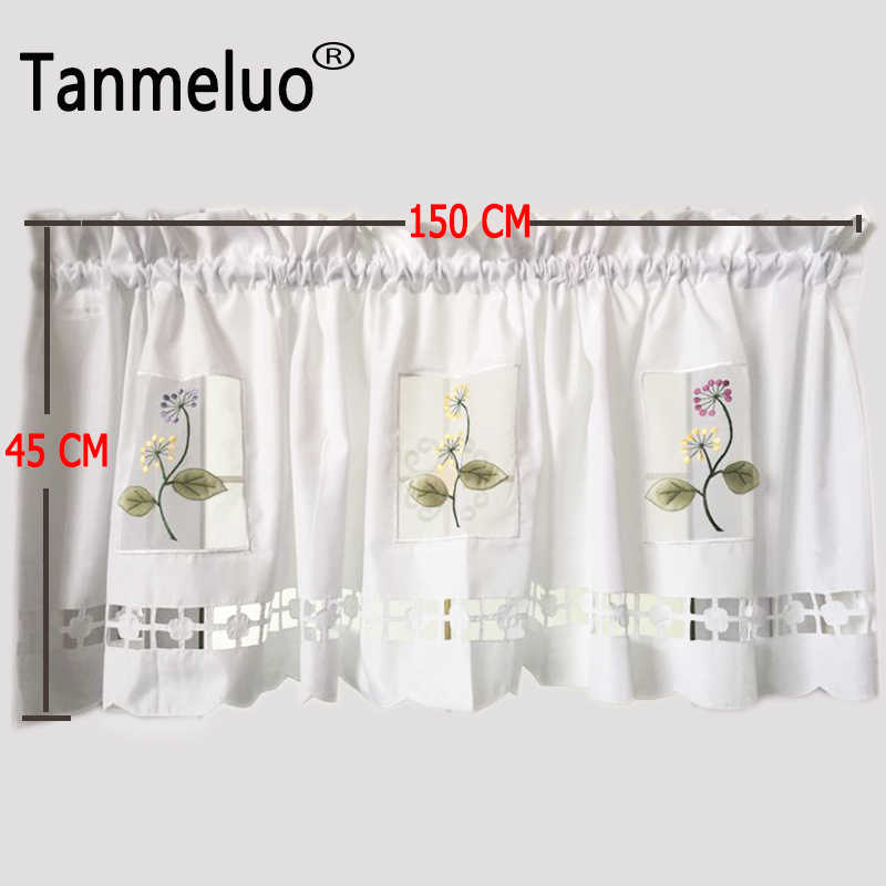 Korean pastoral style floral embroidery lace half-curtain bay window curtain tulle for coffee kitchen room door curtain