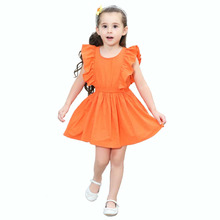 Baby Girls Summer Dress for Little Girls Children's Clothing Ruffles Casual Holiday Party Princess Dresses Orange Kids Costume(China)