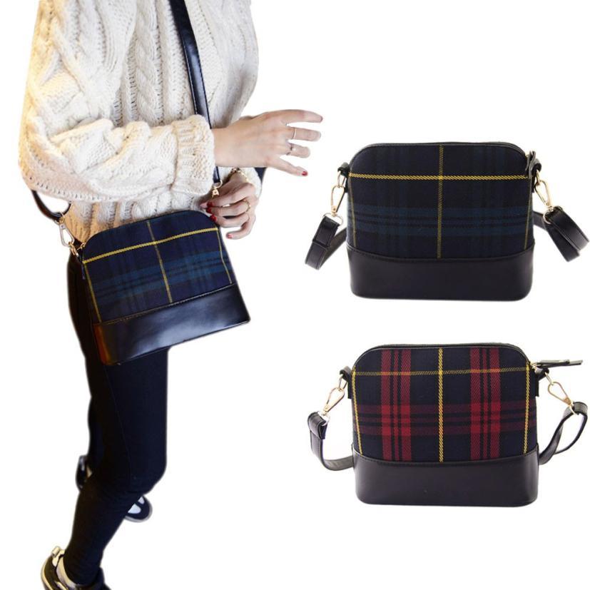 2015 NEW Womens Vintage Messenger Bag Shoulder Bag Ladys Multifunctin Handbag Purse shell bag canvas Splice Plaid Leather Lucky<br><br>Aliexpress