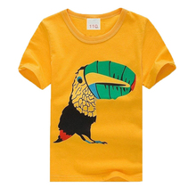 N19-103 Newest children clothes birds mouth patterns  boys girls unisex summer t shirt kids t-shirts 100% cotton