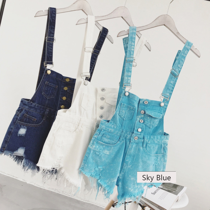 2018 new Korean college wind age denim strap shorts female wild thin students hole suspenders tide (4)