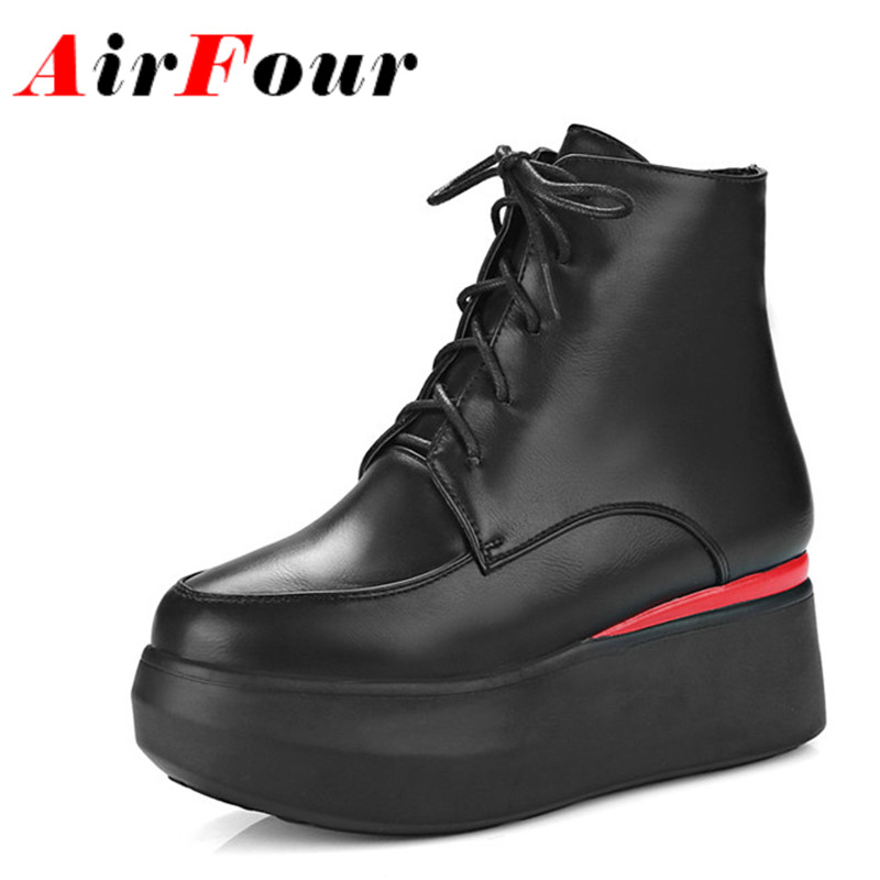 Airfour New Women Winter Warm Boots High Heels Platform Shoes Round Toe Lace-up Wedges Motorcycle Boots Ankle Boots for Women<br><br>Aliexpress