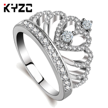 KYZC Fashion Princess Tiara Ring Silver color crown Zircon Finger  Rings Women Wedding Engagement Ring Jewelry Wholesale