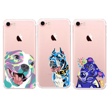 Art PitBull Tattoo Design Dog Face Clear Soft TPU Phone Case For iPhone 5 5S SE 6 6S Plus 7 7Plus