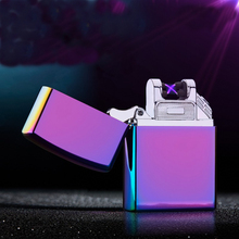 Double Arc lighter Pulsed Slim Windproof cigarette cigar Lighter Personality Electronics usb novelty smoking match 18 color(China)