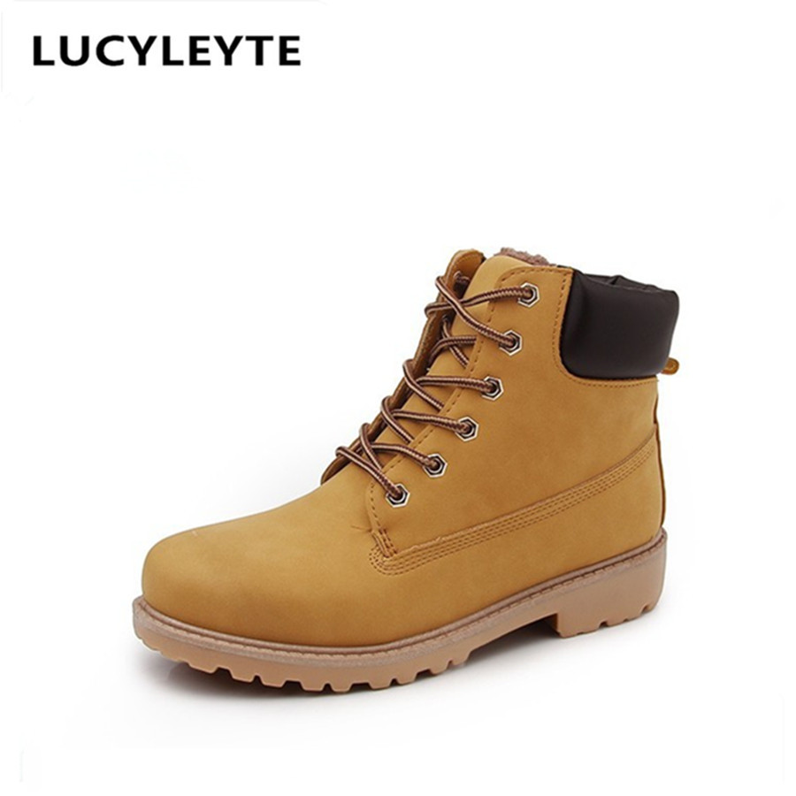 Europe and the United States style casual round head with cashmere thicker short boots rubber sole with womens Martin boots<br>