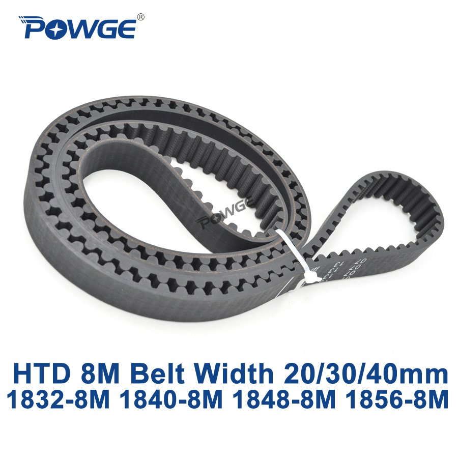 POWGE HTD 8M synchronous Timing belt C=1832/1840/1848/1856 width 20/30/40mm Teeth 229 230 231 232 HTD8M 1840-8M 1848-8M 1856-8M<br>