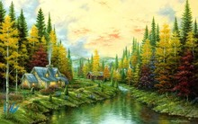 2016 Painting By Numbers Amazing Indian Summer Beautiful Nature Landscape Painting 4-size Home Decoration Canvas Poster Print(China)