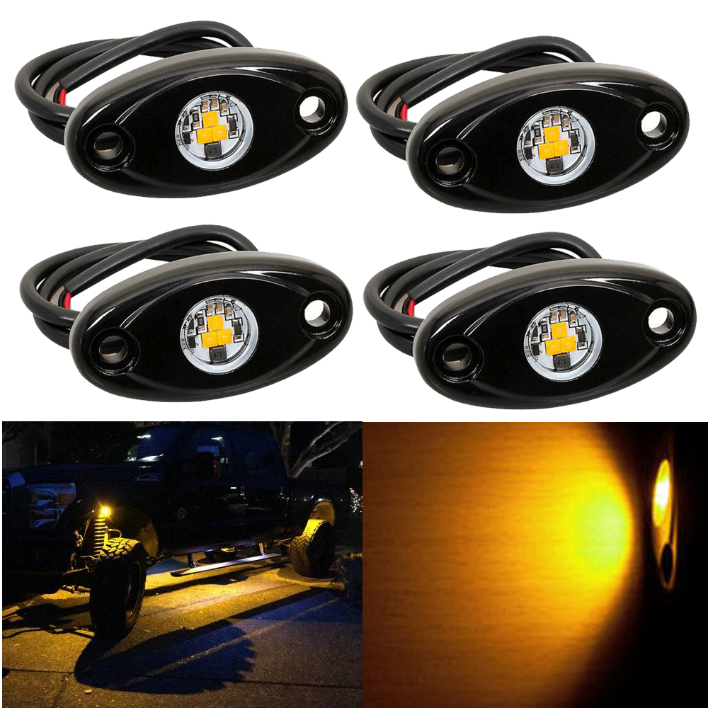 4pcs Yellow LED Rock Light for JEEP Offroad Truck Under Body Trail Rig Lamp Truck Bed Marine Boat Dock Fender LED Back Lighting <br>