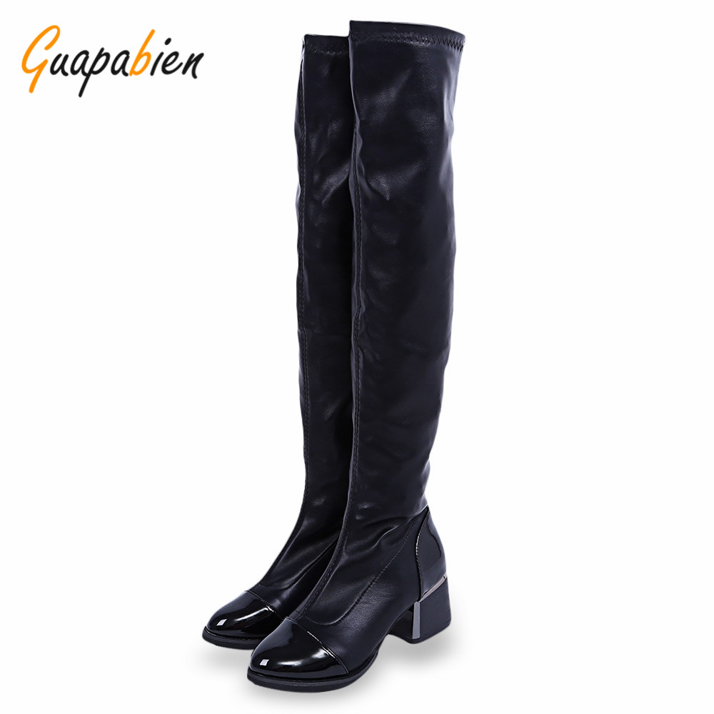 Guapabien Stylish Black Knee High Boots Overlength Pointed Toe Elastic Ladies Winter Chunky Heel Work Boots Leather Snow Shoes<br><br>Aliexpress
