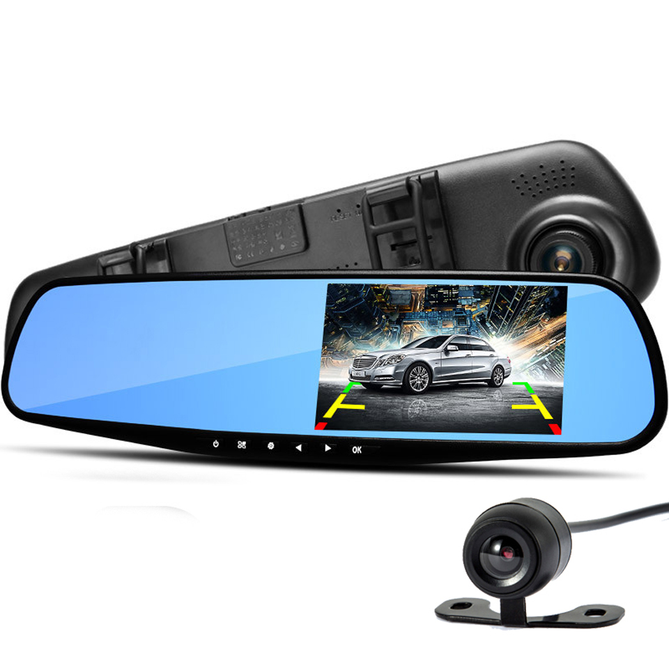 4.3LCD Dual Lens Car DVR Rearview Camera Full HD 1080P With Parking Rear View Camera Night Vision Dashcam<br><br>Aliexpress