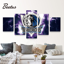 5 Panel Wall Art Basketball Game Dallas Mavericks Logo Poster Canvas Painting For Living Room HD Print Wall Decoraction Unframed(China)