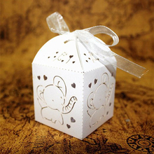 20PCS European Adorable White Cute Heart Elephant Hollow out Tissue Candy Box with Bow Ribbon Baby shower favors and gift boxes