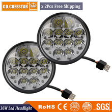 5.75'' inch 36W Round Led work light 12LEDs 36W Headlight High Low Beam Projector Light for Davidson Truck 36W led lamps x2pcs(China)