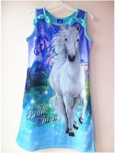 Big girls clothes summer style bella sara dress for girls clothes cartoon pony nightgowns children wear 3 - 12 years old