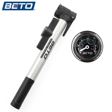 BETO Mini Portable Cycling Road Bike MTB Bicycle Aluminium Alloy Tire Inflator Air Pump With Pressure Gauge Bracket High Quality