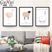 Minimalist Wall Drawing Blue Little Whale Crayon Cute Animals Canvas Wall Picture Flamingo Kid Room Decorative Painting Fox Lamb(China)
