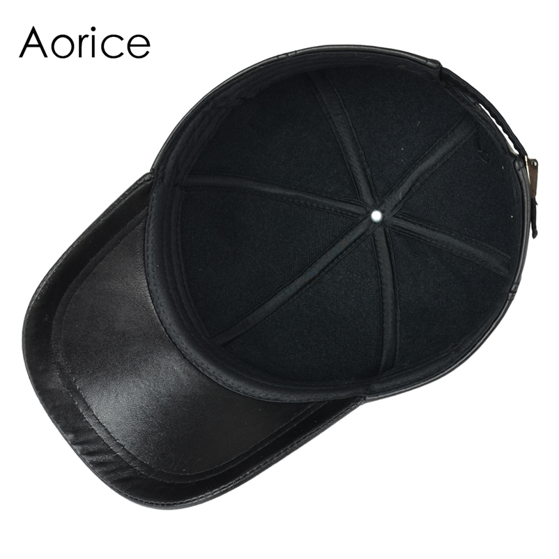 Deluxe Leather Adjustable Black Baseball Cap - Inside View
