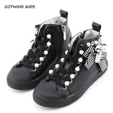 Buy CCTWINS KIDS 2017 Toddler Girl Baby Brand Pearl High Top White Sneaker Children Fashion Lace Black Trainer Kid Bow Flat F1858 for $25.80 in AliExpress store