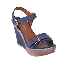 HEYIYI Women Sandals Shoes Platform Wedge High Heels Strap Solid Buckle Strap PU Leather Soft Insole Blue Lightweight Shoes