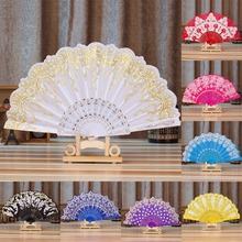 1PC 7 Styles Flower Painting Pattern Polyester Folding Fan Chinese Style Traditional Lace Bronzing Fabric Folding Fan Home Decor
