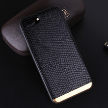 Luxury Genuine Crocodile Leather Gold Aluminum Soft Phone Case Cover Fundas Coque For iPhone 7 7Plus 6 6S 6Plus