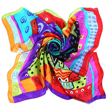 LESIDA Luxury Brand Colorful Square Pure Silk Scarf Women Cat Print Neck Scarves Big Foulards Femme Bandana Handkerchief DF9059(China)