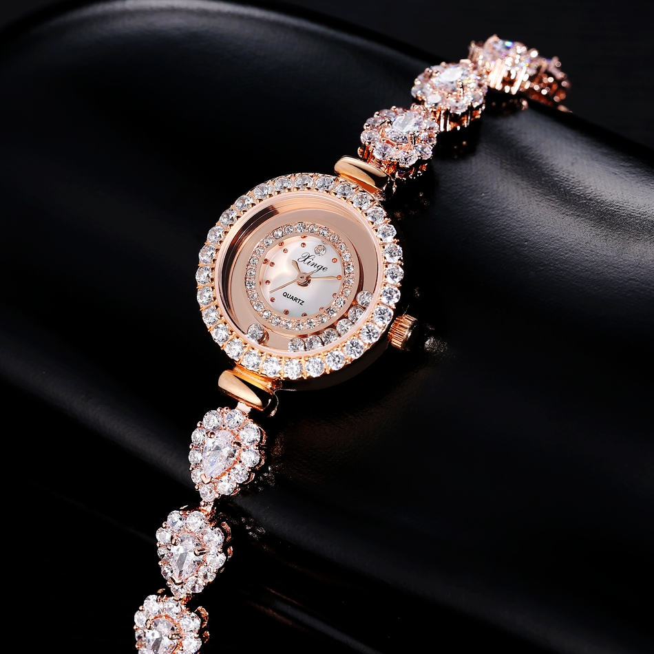 Women Luxury Fashion Simple Bracelet Watch Ladies Casual Crystal Dress Wrist Watch for Women Import Movement Metal Band Watch<br>