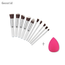 10pcs Pro Foundation Powder Makeup Brush Set Face Contour Eyeshadow Blush Concealer Blending Brush Kit With Rose Red Puff(China)