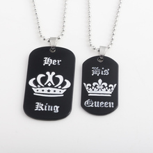 New fashion Her King & His Queen Tag Couple Necklace Enamel pendant Men and Women Jewelry(China)