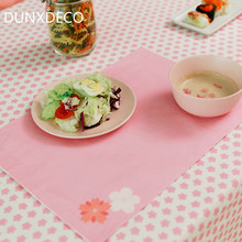 DUNXDECO Table Placemat Cotton Fabric Individuales de mesa Cover 1PC 30x45CM Chic Pink Sakura Kid Dinner Mat Desk Accessories