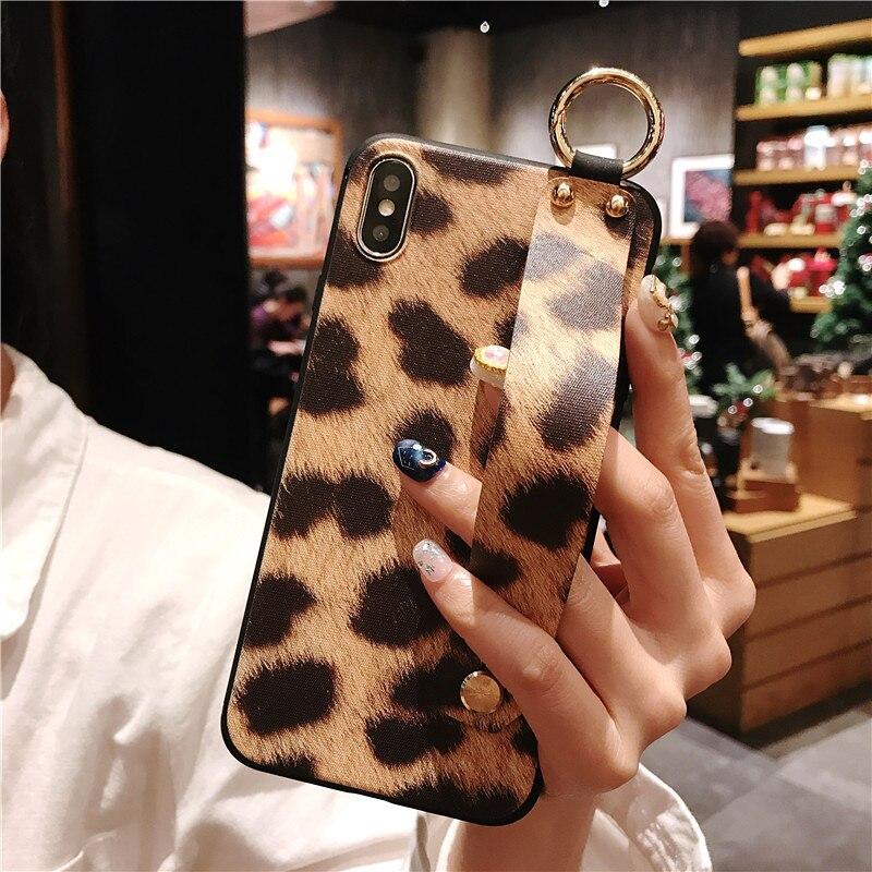 4 SoCouple Wrist Strap Phone Case For iphone X Xs max XR 6 6s 7 8 plus Leopard Print Tiger Skin Zebra Pattern Soft TPU Holder Case