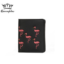2017 flamingo pattern embroidery fashion lady clutch wallet mini short paragraph folding small purse Vintage Embroidery