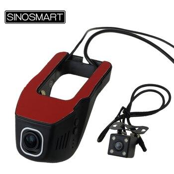 SINOSMAR 96655 Universel Double Lentilles Wifi DVR pour Honda/Audi/BMW/Hyundai Lentille Réglable Contrôle par App double Caméra En Option