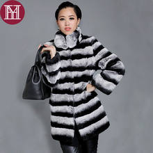 2017 Brand women winter real rex rabbit fur jacket lady Chinchilla style warm soft striped natural rex rabbit fur outerwear coat