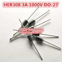 Free shipping 100pcs HER308 3A 1000V DO-27 Fast Recovery Rectifier Diode(China)
