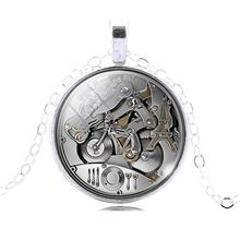 LIEBE ENGEL Vintage Mechanical Gear Steampunk Art Glass Cabochon Pendants Necklaces Bronze Silver Chain Necklace Women Jewelry