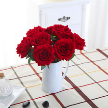 Artificial Silk eternal rose wedding decor Rose in the glass basket ramos artesanato easter household products for home fleur