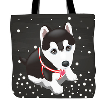 Welcome Winter Snow Back Printed Tote Bag For Shopping Food Convenience Women Shoulder White Canvas Hand Bags Husky Puppy(China)