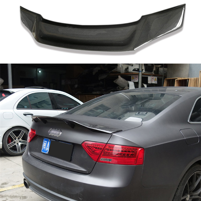 FYRALIP Painted Factory Print Code Trunk Lip Wing Spoiler For 2007-2016 Audi A5 B8 B8.5 Coupe Convertible Fast Delivery Easy Installation Perfect Fit LS9R Glacier White Pearl Tricoat
