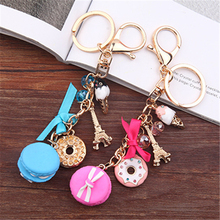 2017 Macarons Cake Keychain Keychains With France Paris LADUREE Effiel Tower Macarons Ribbon Keyrings Bag Charm Gift Accessories(China)